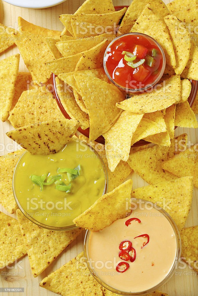 Mix of dips with nachos royalty-free stock photo