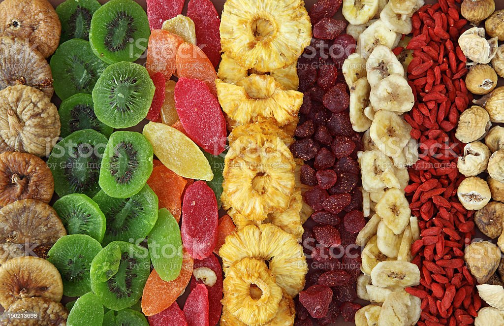 Mix of dried fruits stock photo
