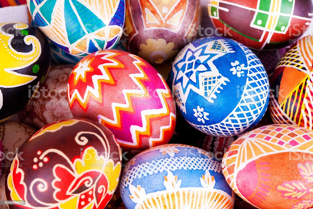Mix of eggs with the traditional designs stock photo