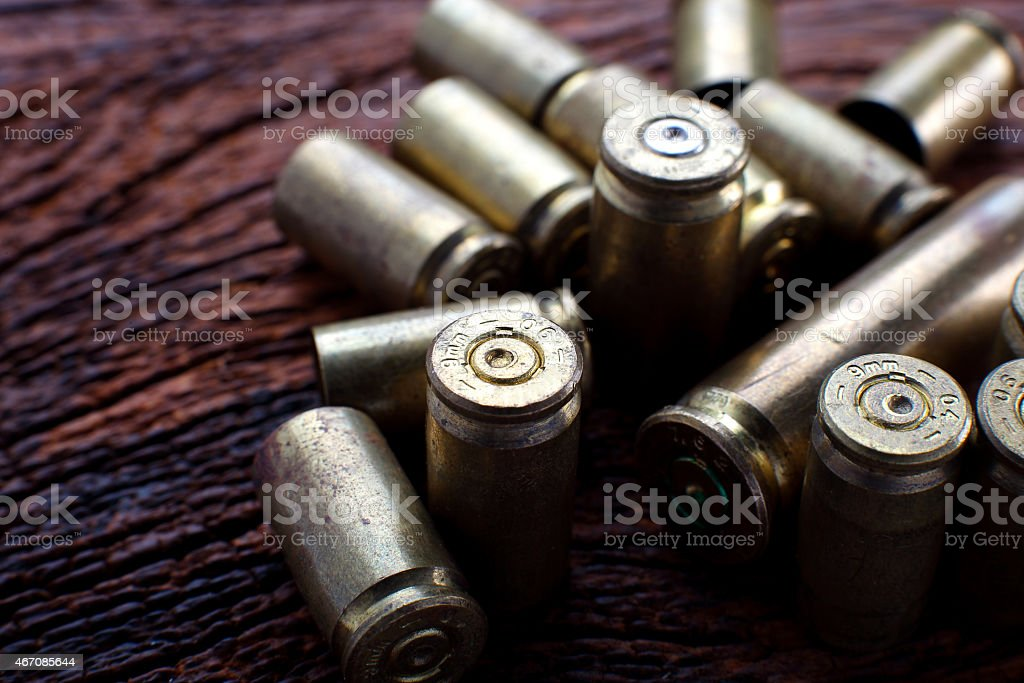 Mix of empty bullets stock photo