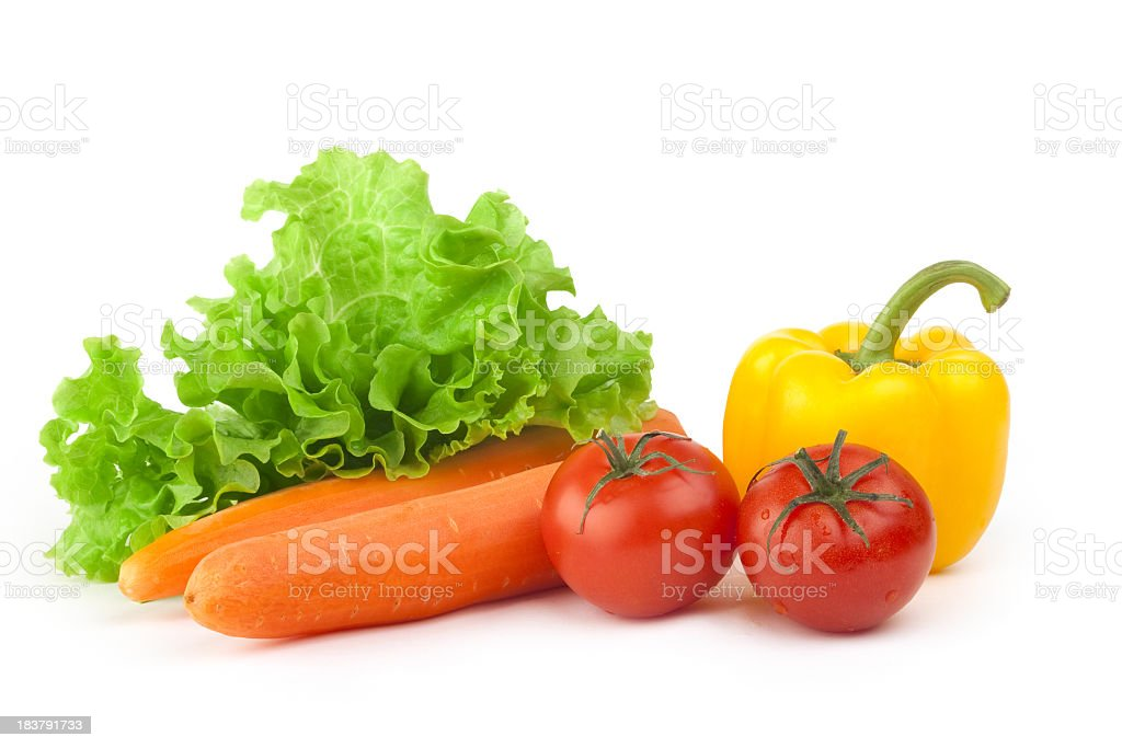 Mix of fresh vegetables on a white background stock photo