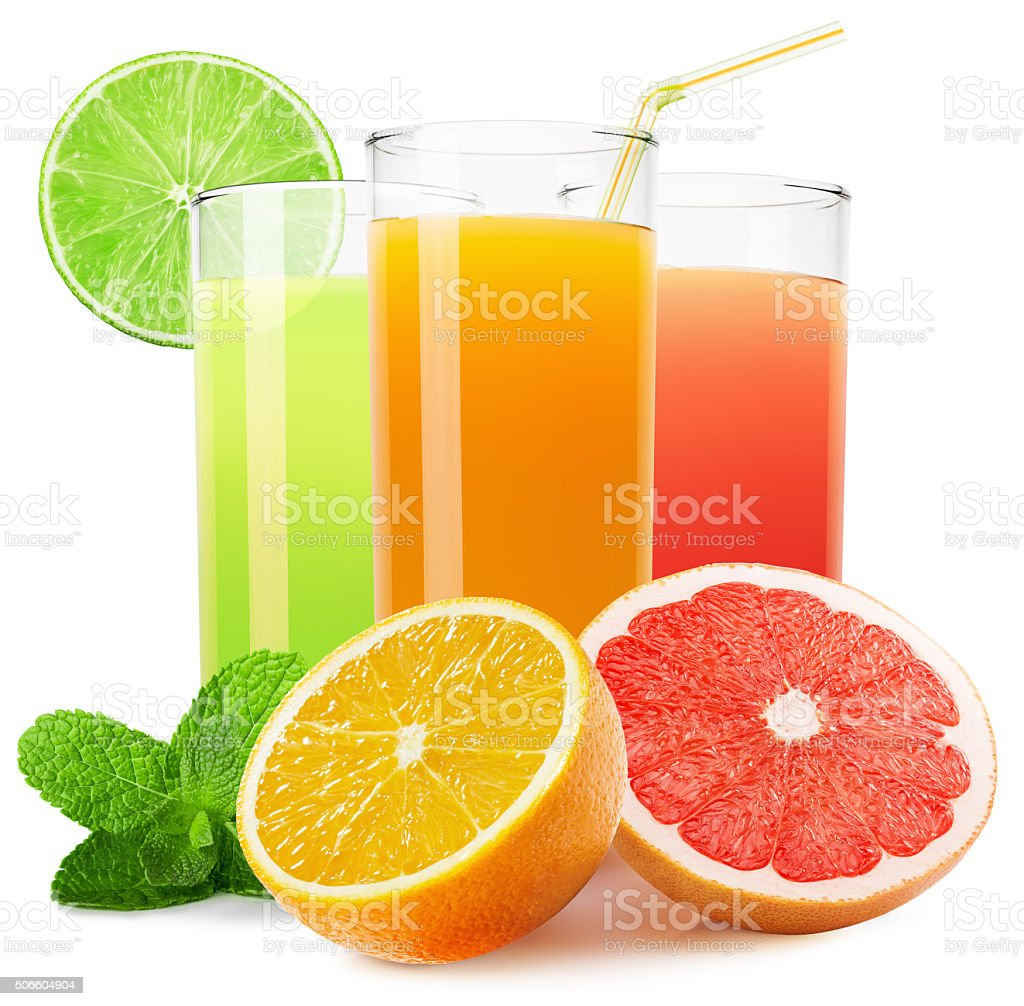mix of fruit juices isolated on the white background stock photo