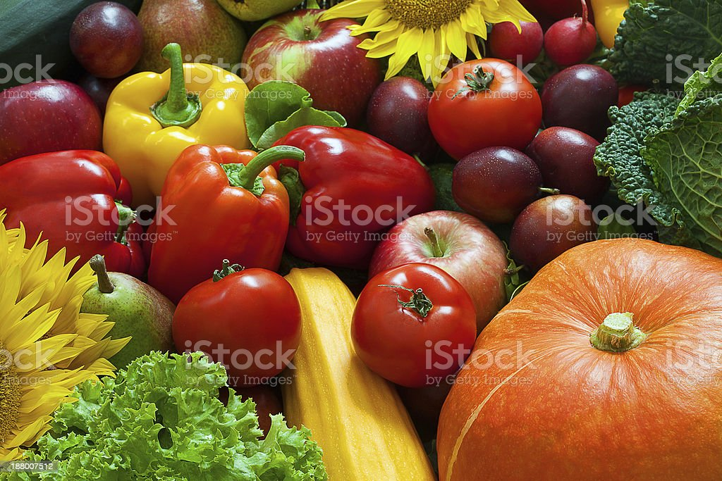Mix of fruits and vegetables stock photo