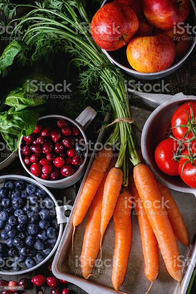 Mix of fruits, vegetables and berries stock photo