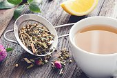Mix of herbal tea and cup of tea