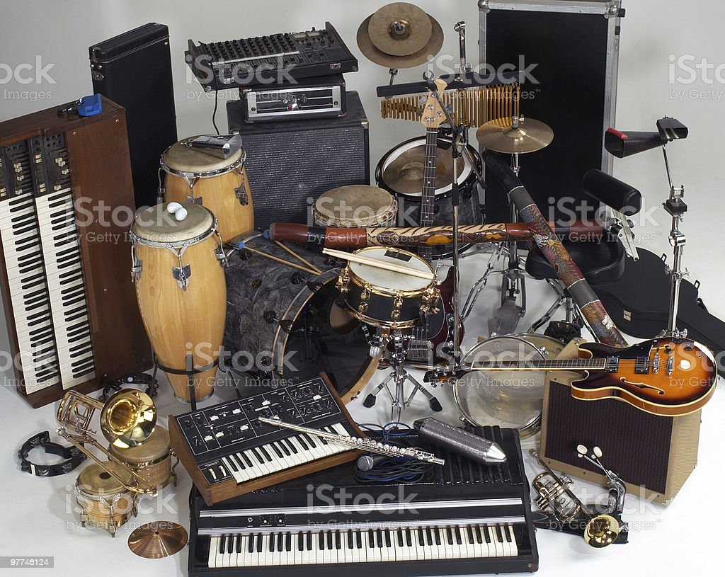 mix of instruments stock photo