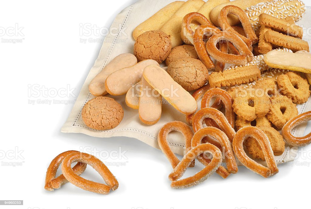 Mix of italian typical biscuits, savoiardi, amaretti, torcetti and others stock photo