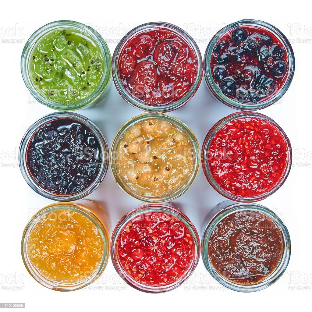 Mix of jams stock photo
