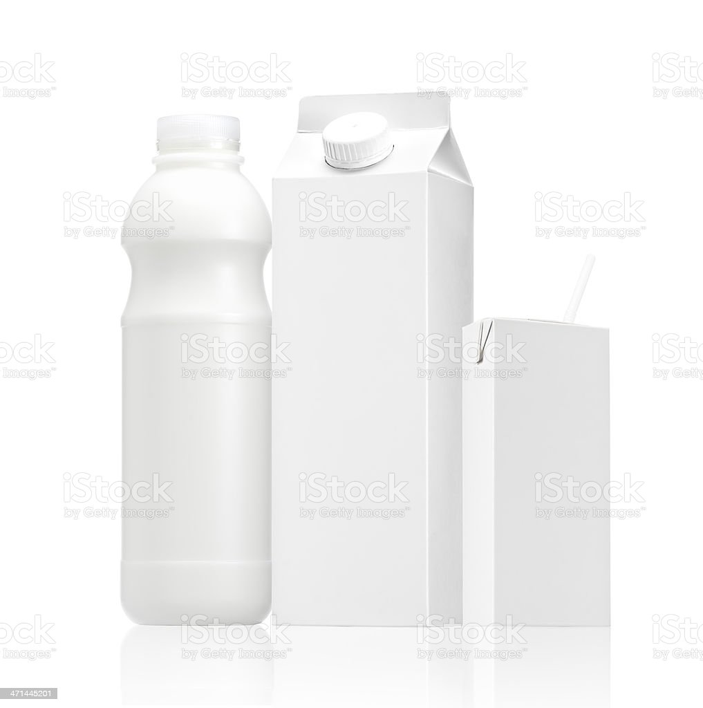 mix of Milk or juice blank pack royalty-free stock photo
