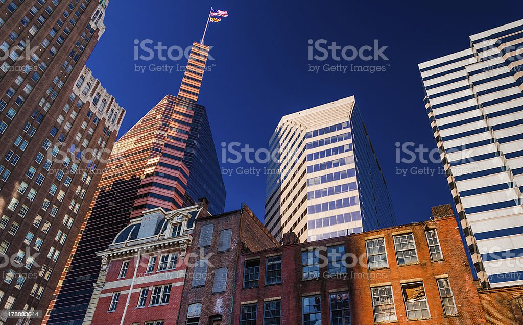 Mix of modern and old buildings in Baltimore, MD stock photo