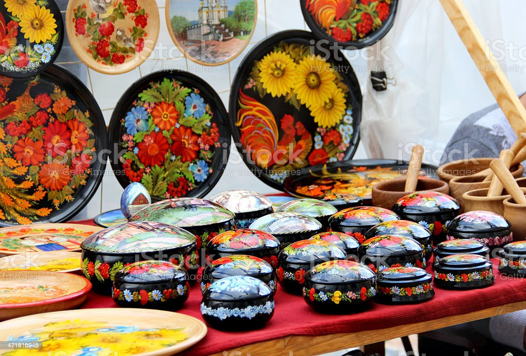 Mix of Russian and Ukrainian souvenirs royalty-free stock photo
