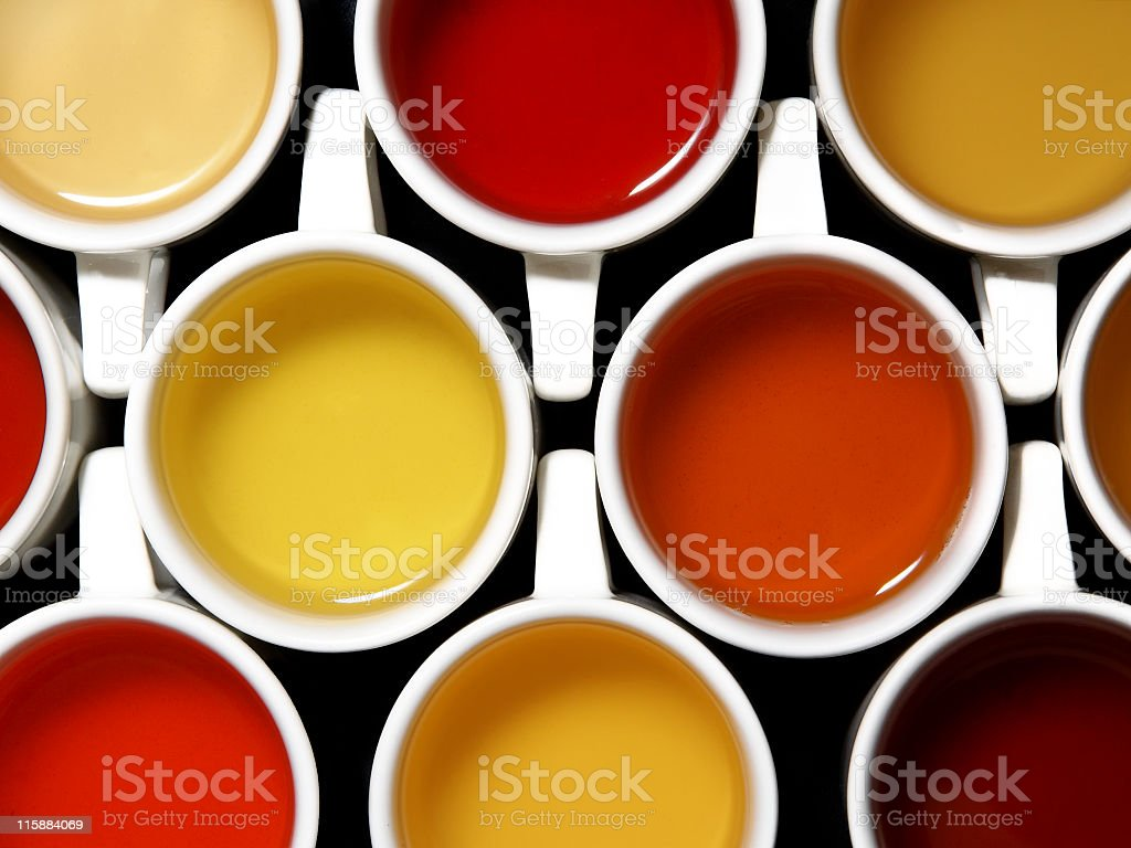 Mix of teas and colours stock photo