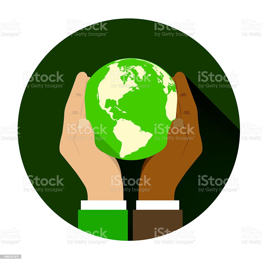 mix of two different races holding hands globe. stock photo