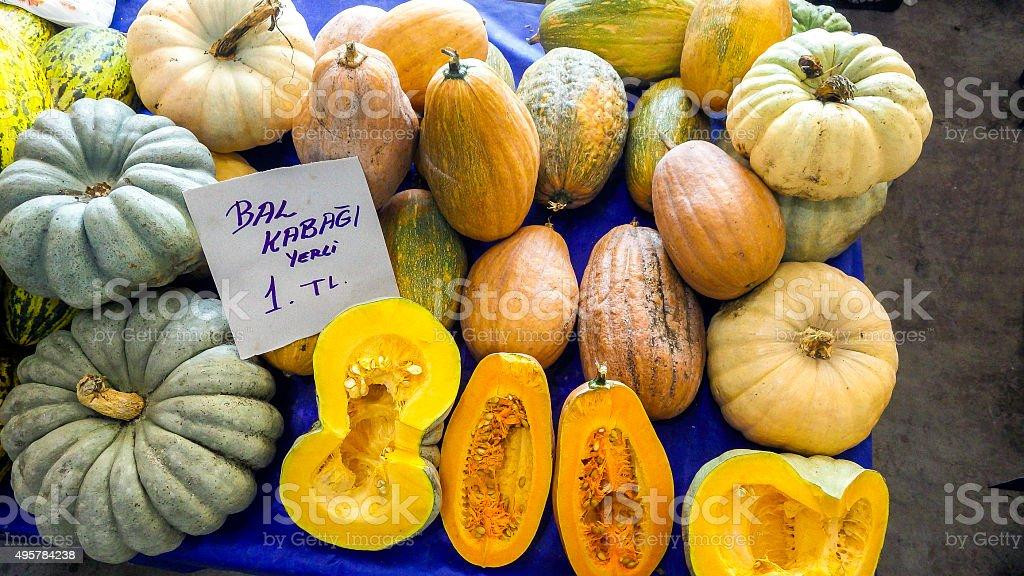 mix pumpkins stock photo