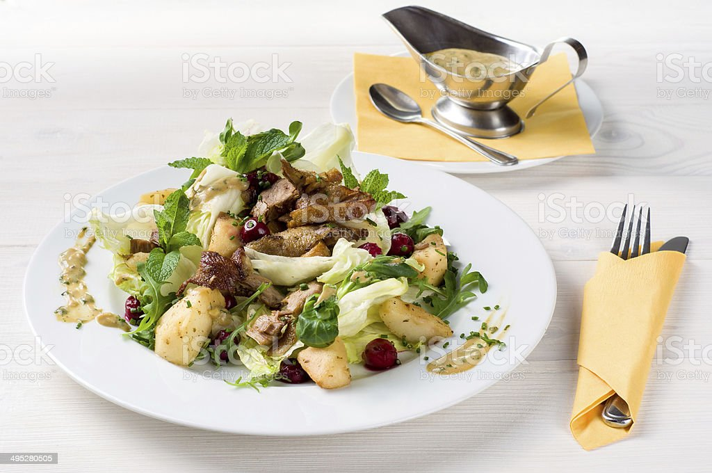 Mix salad with duck stock photo