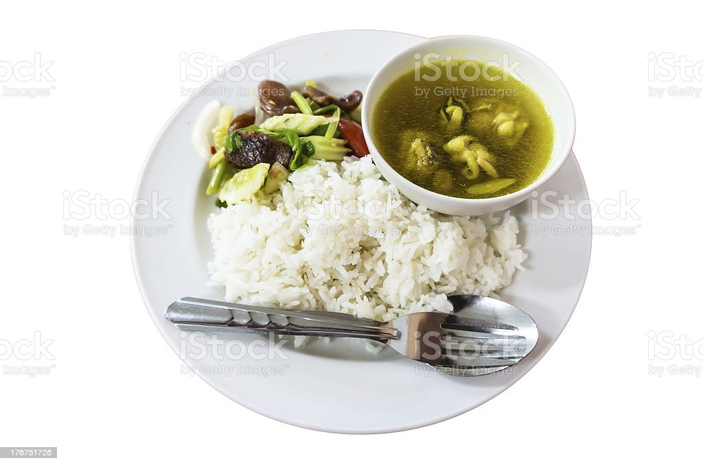 Mix sausage, rice and boiled chicken. royalty-free stock photo