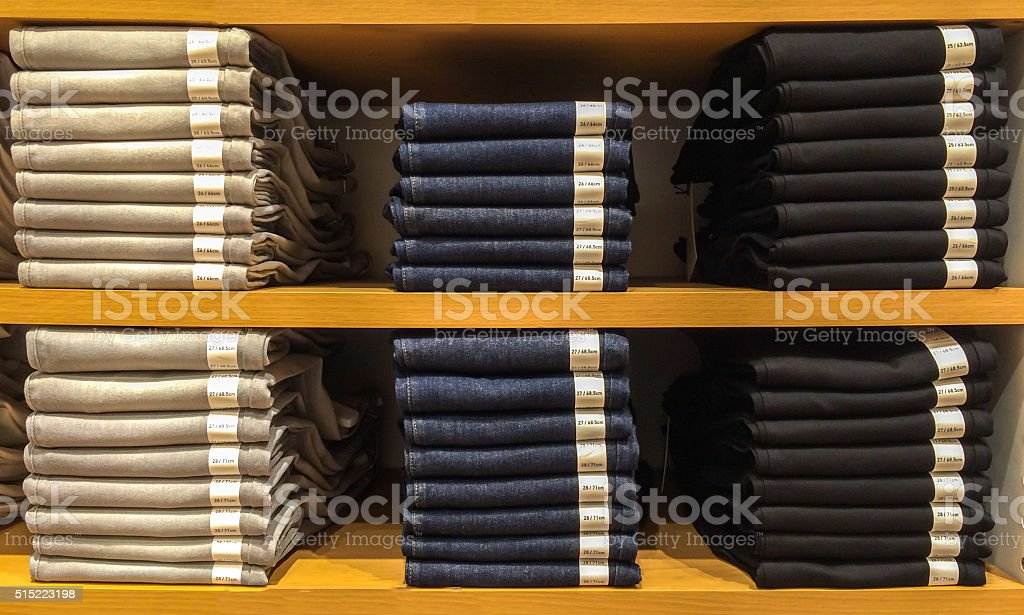 Mix Size Various of Classic Jeans Texture Exhibit on Shelf stock photo