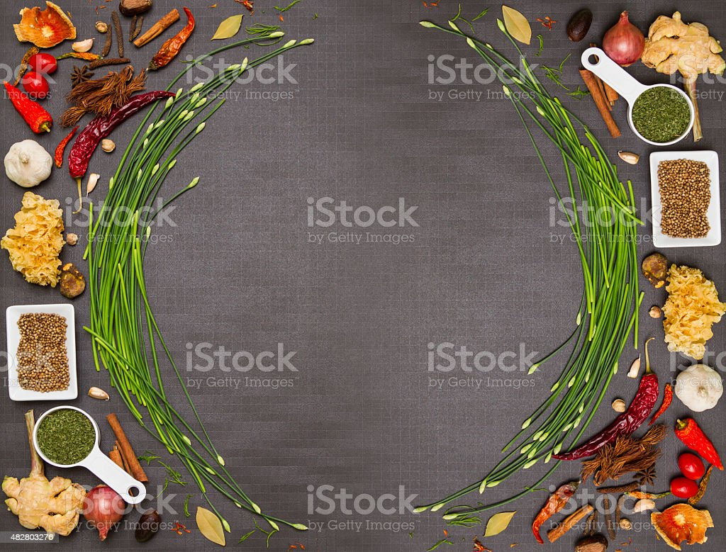 Mix spices and herb for health. stock photo