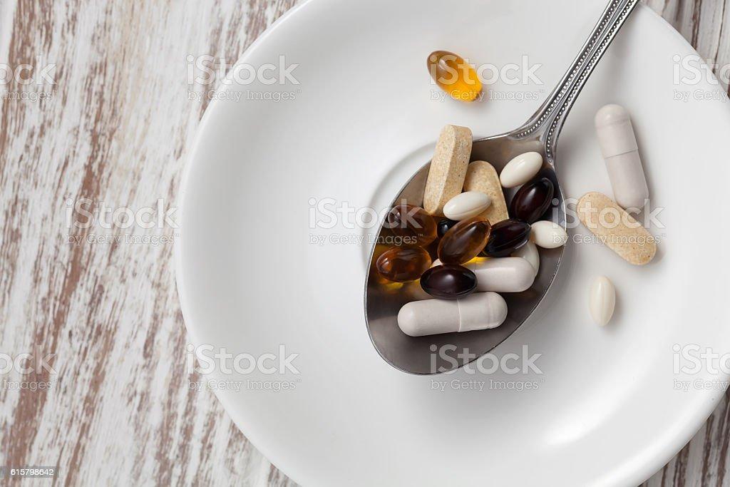 mix supplement antioxidant still life flat lay stock photo