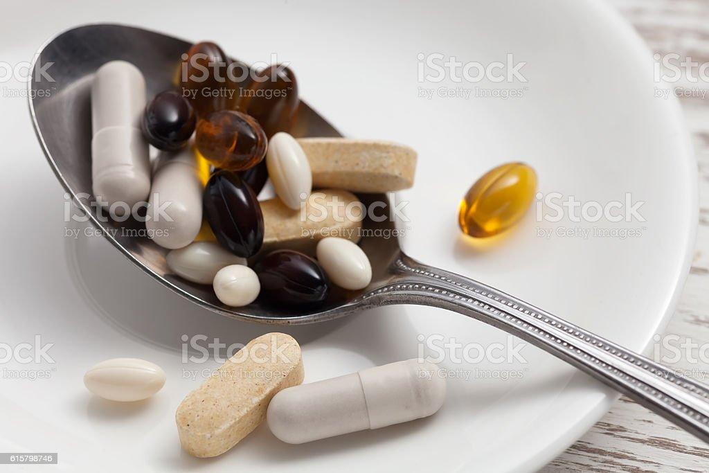 mix supplement antioxidant still life stock photo