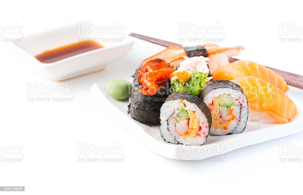 Mix Sushi isolated stock photo