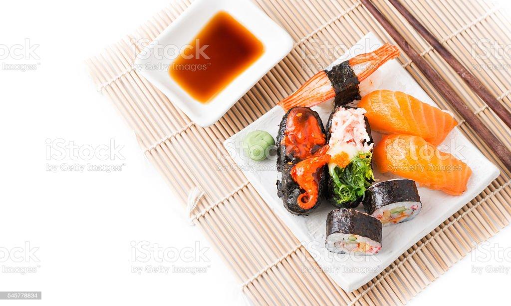 Mix Sushi on white dish isolated stock photo