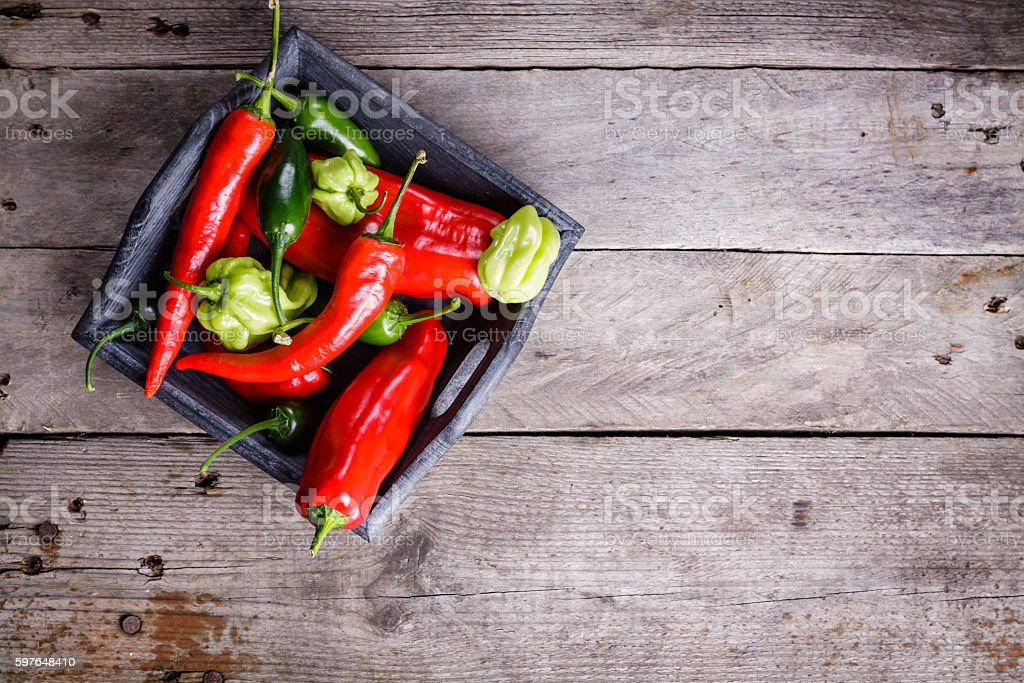 Mix sweet and spicy peppers. stock photo