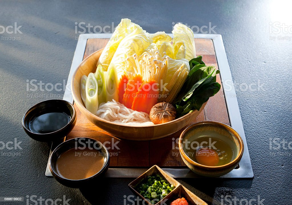 mix vegetable for shabu stock photo