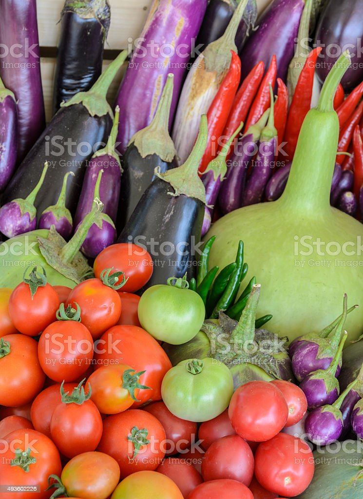 Mix vegetable in wooden box stock photo