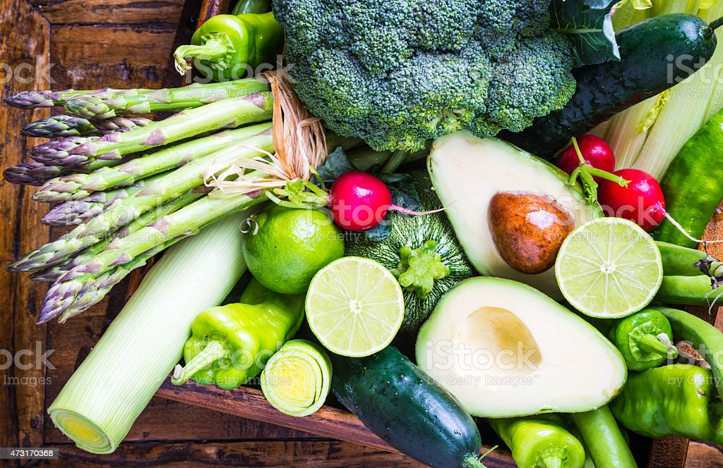 Mix vegetables on rustic background. stock photo