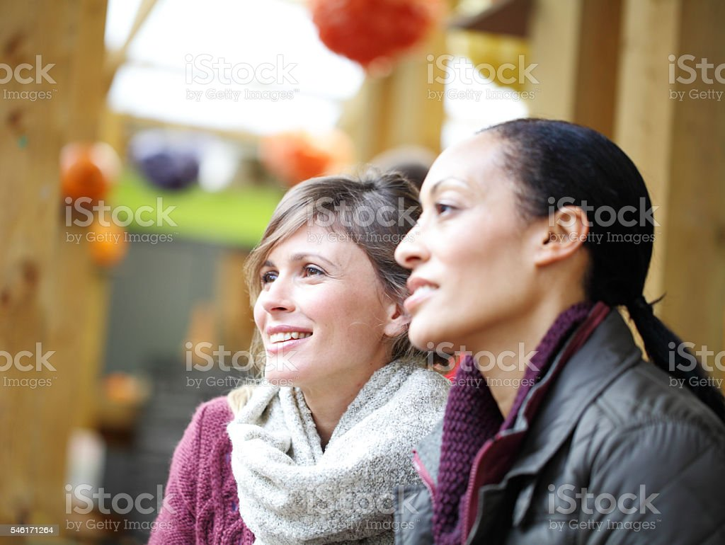 mixe race female friendship stock photo