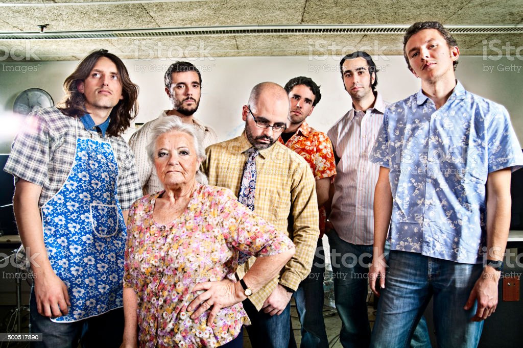 Mixed age rock band stock photo