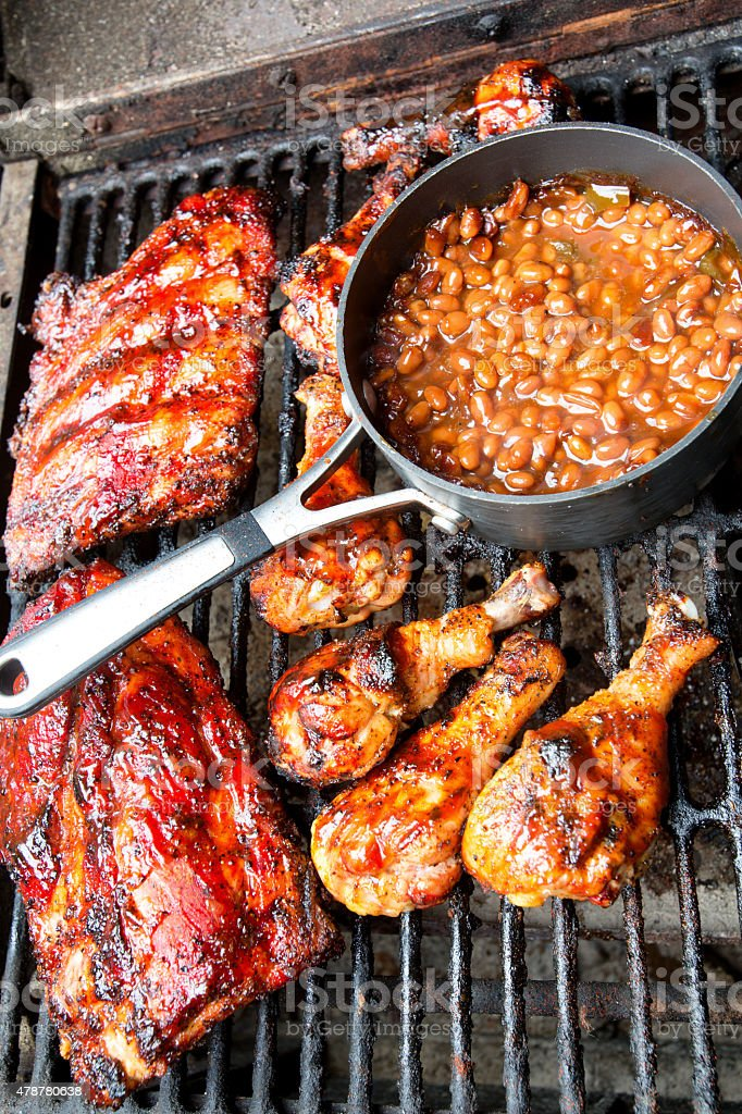 Mixed Barbecue Meal with Chicken and Baby Back Ribs stock photo