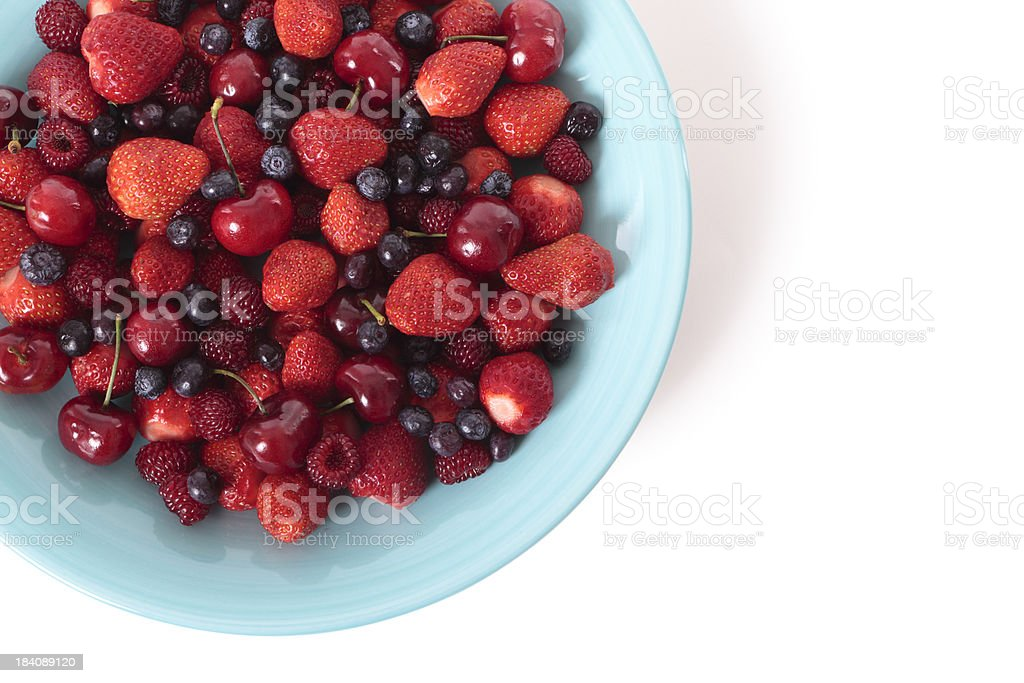 Mixed berries on white background royalty-free stock photo