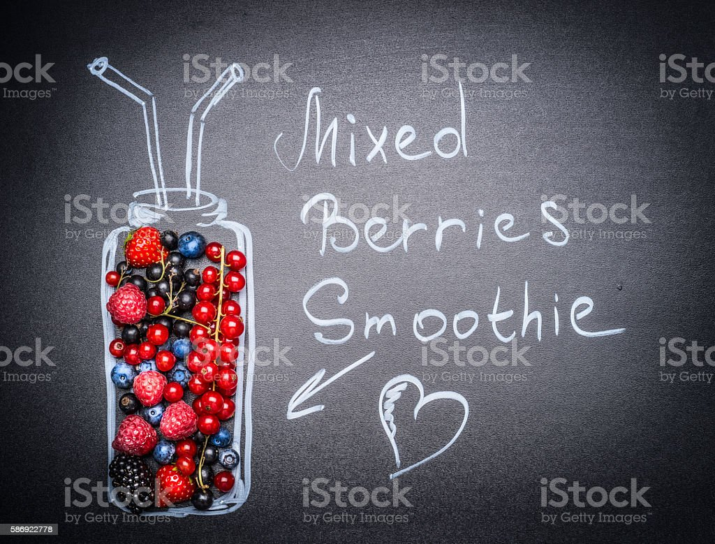 Mixed Berries Smoothie lettering with berries and painted Bottle stock photo