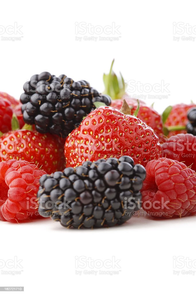 Mixed berries - strawberries, blackberries and raspberries stock photo