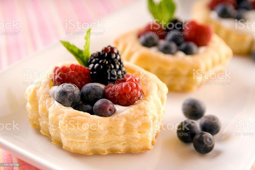 Mixed berry fruit tart for dessert royalty-free stock photo