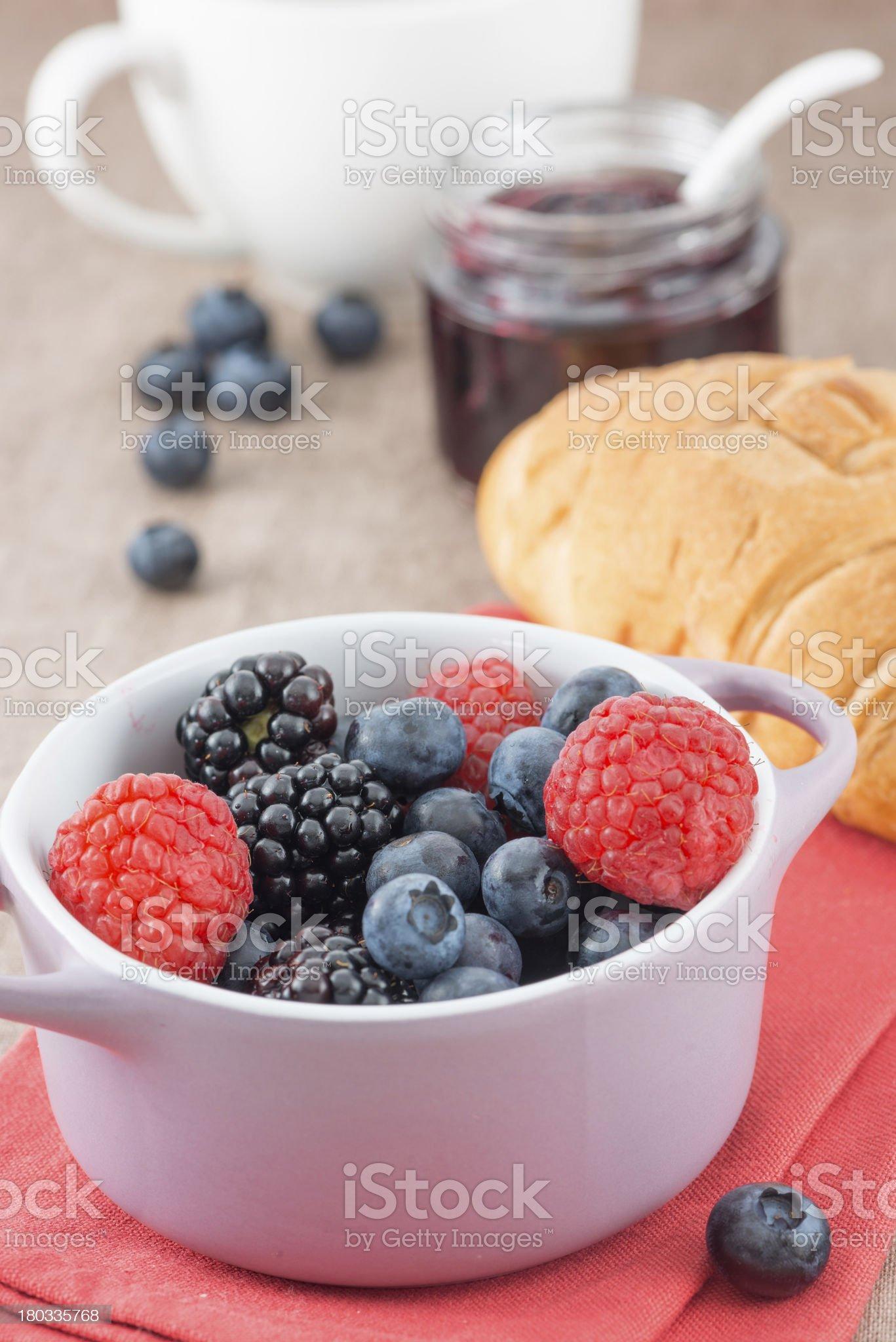 Mixed berry jam with bilberries, raspberries and blackberries royalty-free stock photo