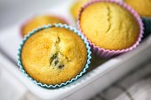 Mixed berry muffin with colored container
