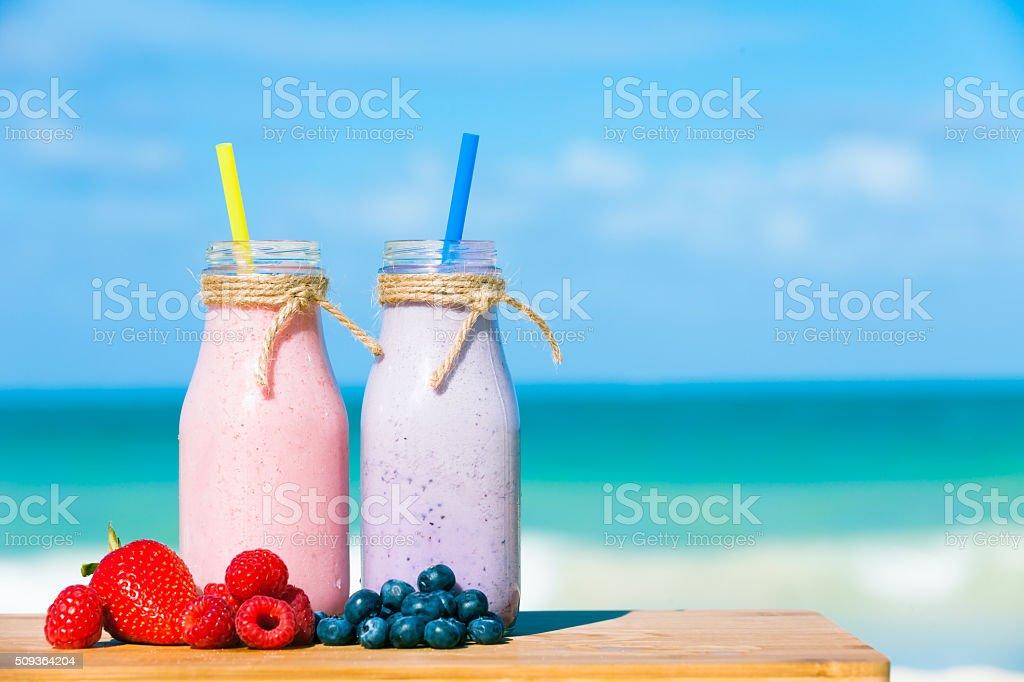 Mixed berry smoothies stock photo