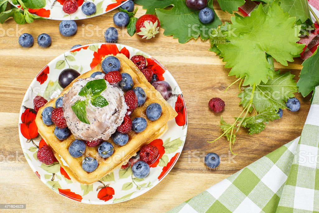 Mixed Berry Waffles royalty-free stock photo