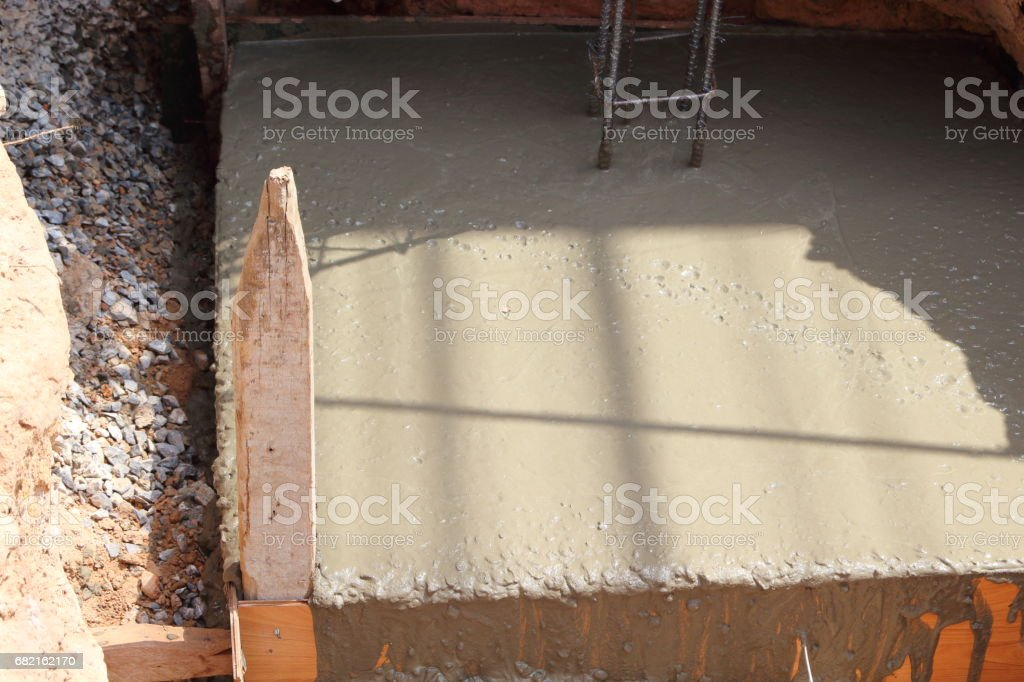 Mixed cement is made of poles. stock photo