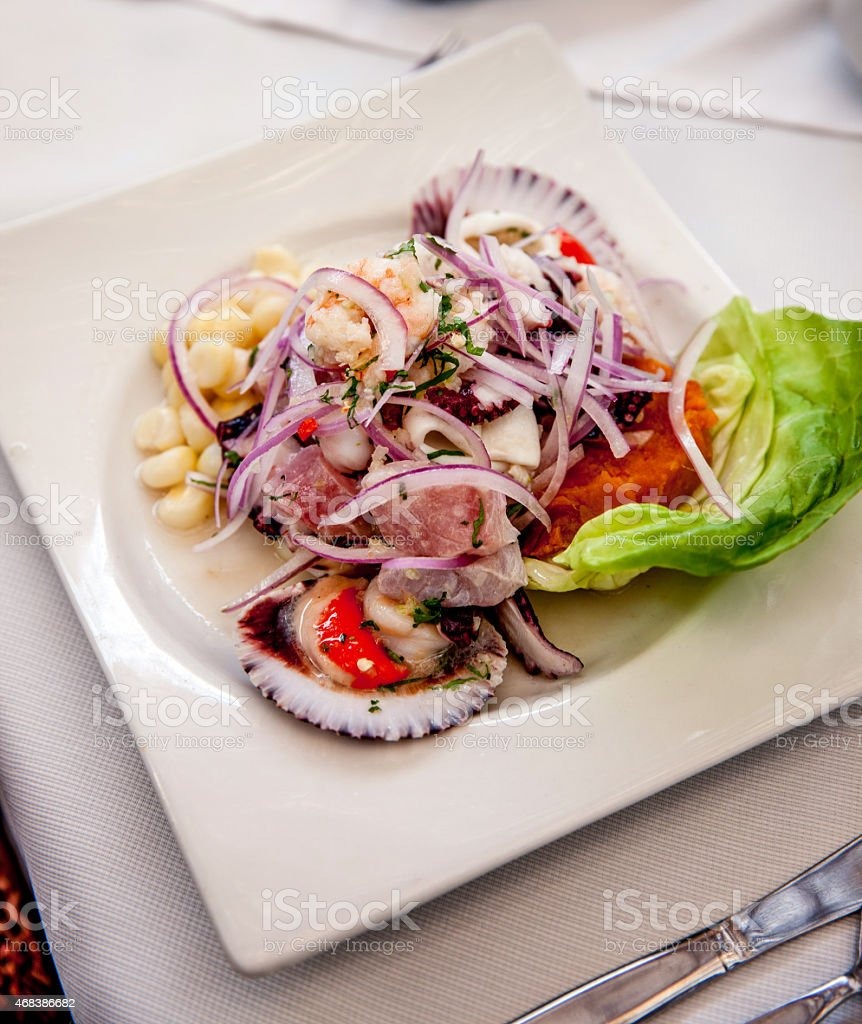 Mixed ceviche raw fish dish of Peru stock photo