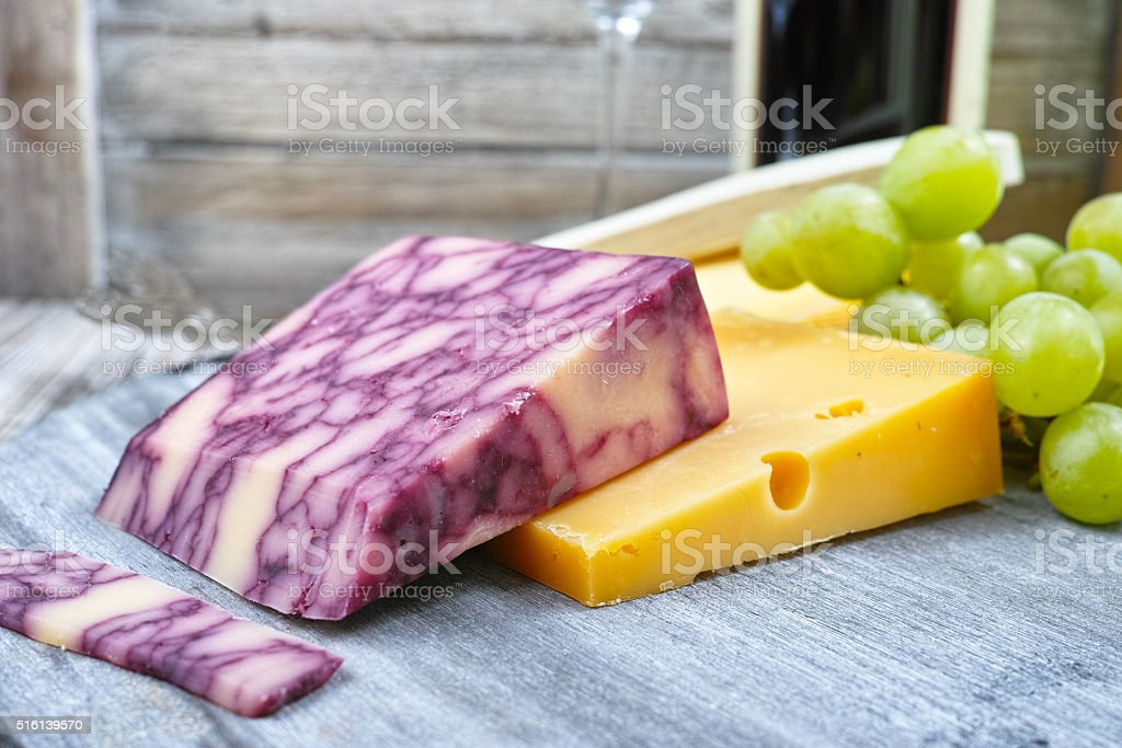 Mixed cheese, marble cheddar, green grape stock photo