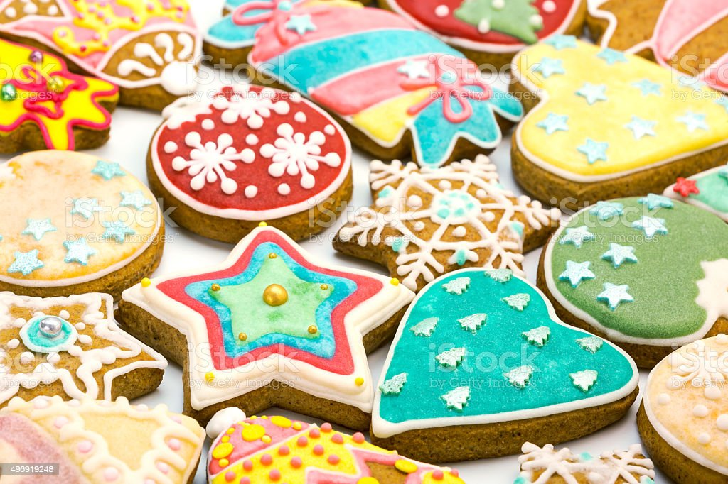mixed christmas gingerbread cookies stock photo