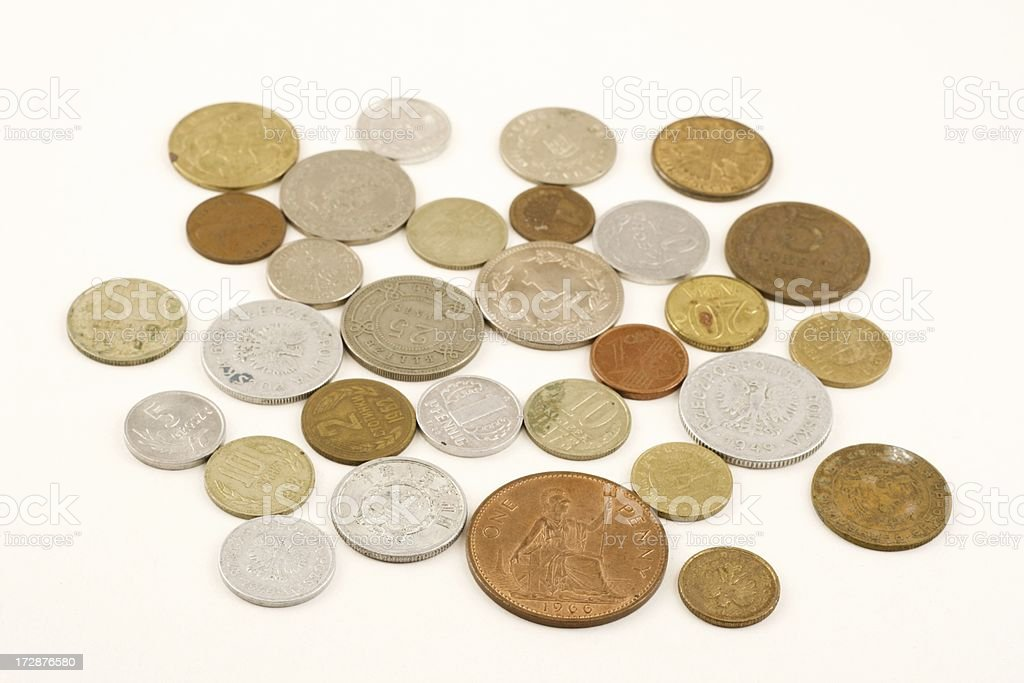 Mixed coins stock photo