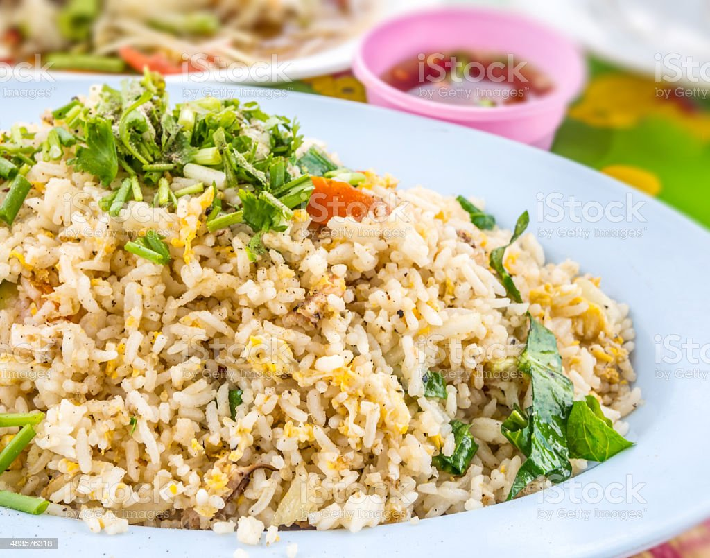 Mixed cooked rice with fried crab royalty-free stock photo