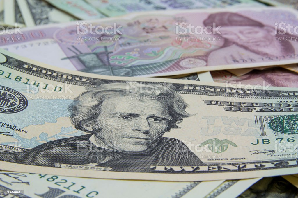 Mixed currencies royalty-free stock photo