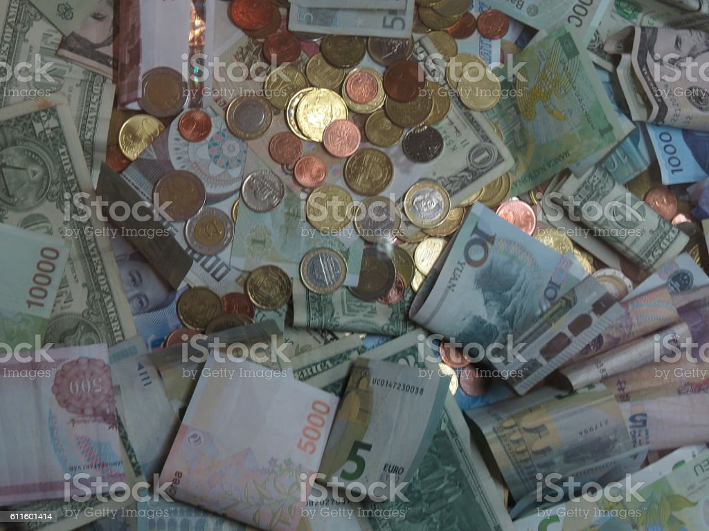 Mixed currencies stock photo