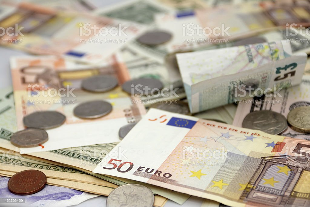 mixed currency stock photo